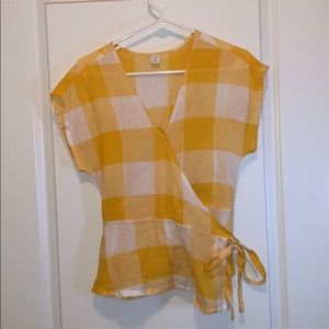 Old Navy gold & white gingham wrap top
